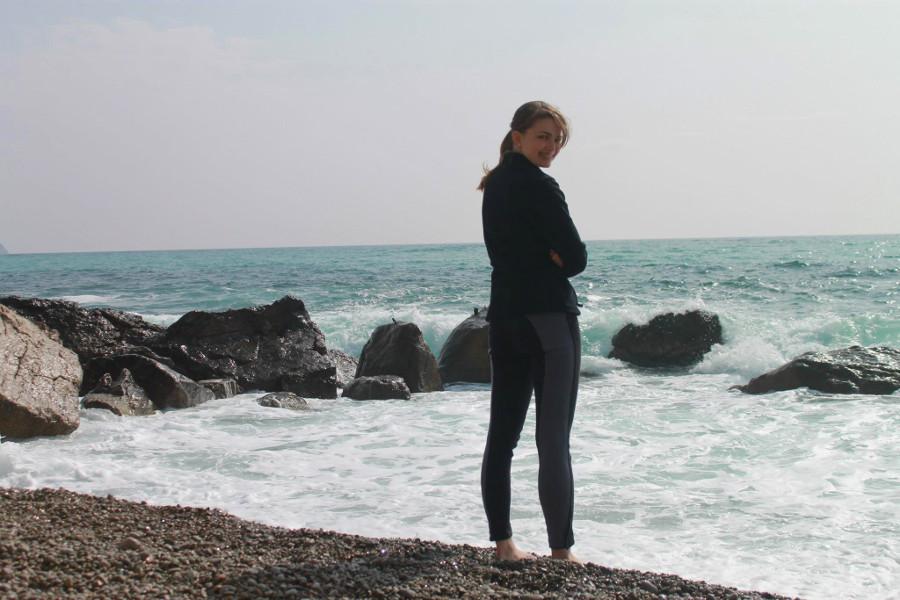 Kamienista plaża na Krymie, Ukraina