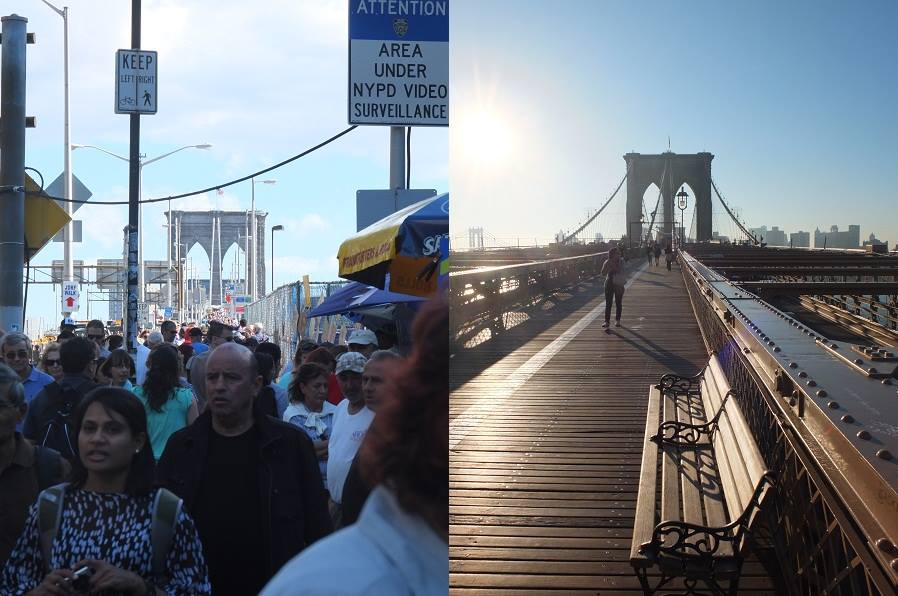 Brooklyn Bridge at noon and at dawn