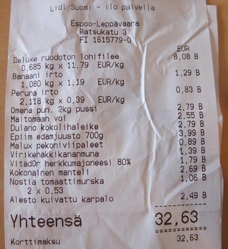Paragon za zakupy w Finlandii