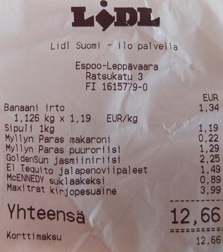 Paragon za zakupy w Finlandii za 50zł
