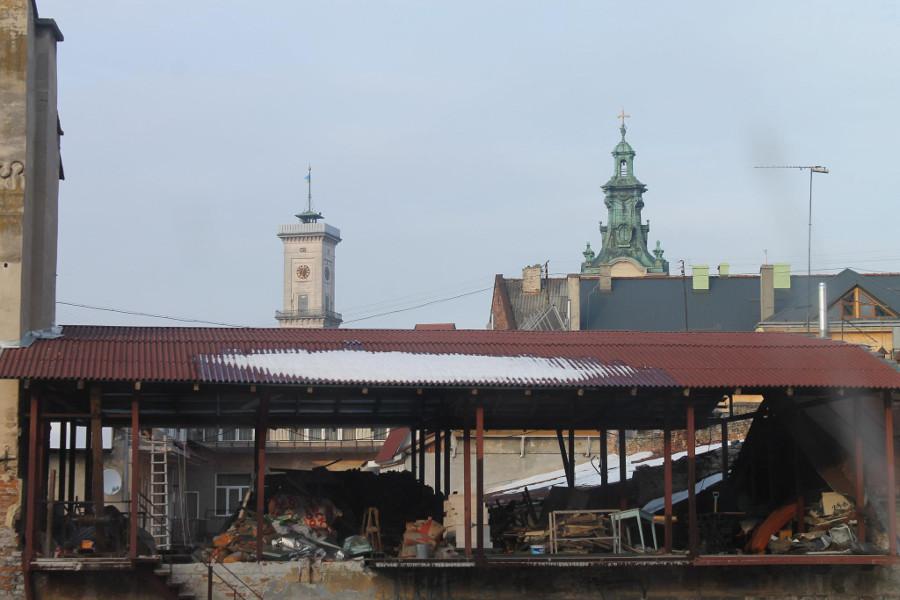 Widok z hostelowego okna w Ukrainie