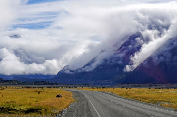 Podczas naszego pobytu w okolicy Mt Cook głównie padało lub było pochmurno.