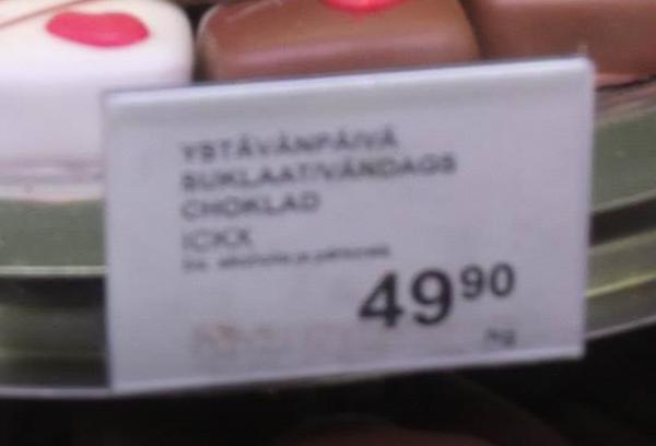 Cena czekoladek, Stockmann, Helsinki